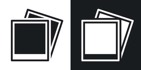 two tone: Vector photo cards icon. Two-tone version on black and white background Illustration