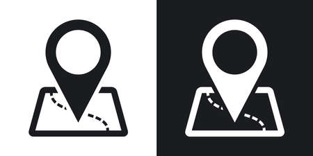 Programma di vettore con l'icona del puntatore. versione bicolore su sfondo bianco e nero