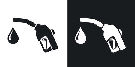 industrial vehicle: Icon of gun for fuel pump with a drop of fuel, stock vector. Two-tone version on black and white background