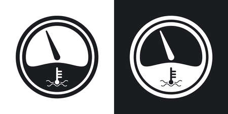 water icon: Vector motor temperature gauge icon. Two-tone version on black and white background