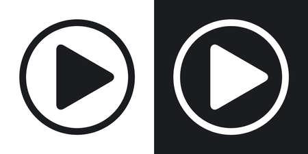 Vector play icon. Two-tone version on black and white background Vektoros illusztráció