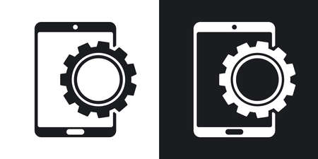 background settings: Vector tablet settings icon. Two-tone version on black and white background