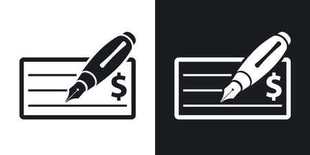 chequebook: Vector bank check icon with fountain pen. Two-tone version on black and white background Illustration