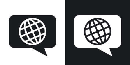 translator: Vector choose or change language icon. Two-tone version on black and white background