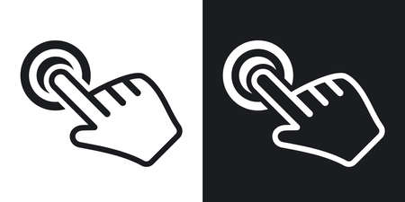 two tone: Vector click hand icon. Two-tone version on black and white background Illustration