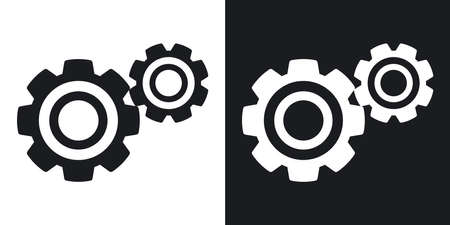 background settings: Vector gears or settings icon. Two-tone version on black and white background