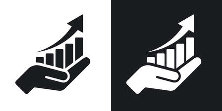 Vector growing graph icon on the hand. Two-tone version on black and white background