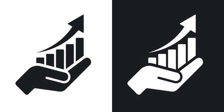 Icône de graphique de plus en plus de vecteur sur la main. Version bicolore sur fond noir et blanc Vecteurs