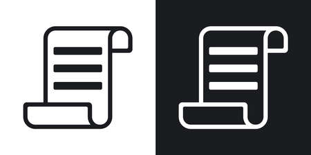 deed: Vector certificate icon. Two-tone version on black and white background