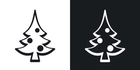 christmas icon: Vector christmas tree icon. Two-tone version on black and white background