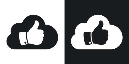 like it: Vector cloud with thumb up icon. Two-tone version on black and white background