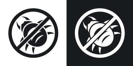 malware: Vector no malware icon. Two-tone version on black and white background