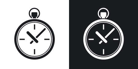 pocket: Vector pocket watch icon. Two-tone version on black and white background