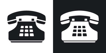 techology: Vector push-button telephone icon. Two-tone version on black and white background Illustration