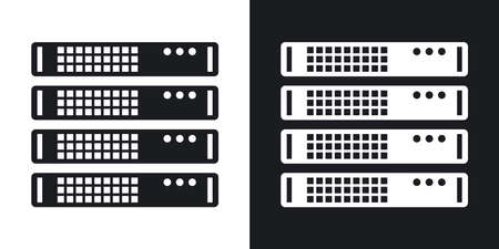 rack server: Vector server rack icon. Two-tone version on black and white background
