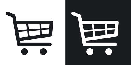 Vector shopping cart icon. Two-tone version on black and white background 일러스트
