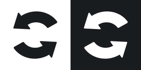 sync: Vector sync and refresh icon. Two-tone version on black and white background