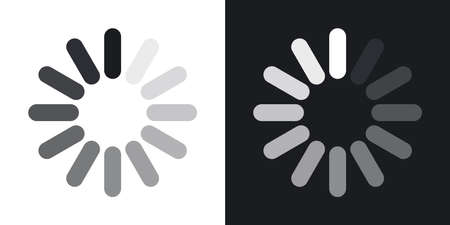 Loading icon, vector. Two-tone version on black and white background