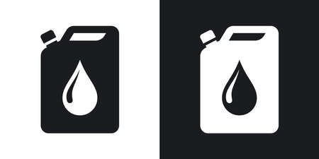 petrolium: Vector oil jerrycan icon. Two-tone version on black and white background Illustration