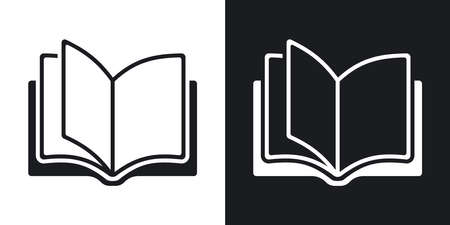 Vector Open Book Icon Two Tone Version On Black And White