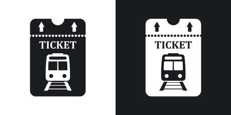 Vector billet de train icône. Version bicolore sur fond noir et blanc