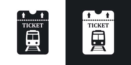 train ticket: Vector train ticket icon. Two-tone version on black and white background