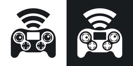 remote: Drone remote control icon, vector. Two-tone version on black and white background