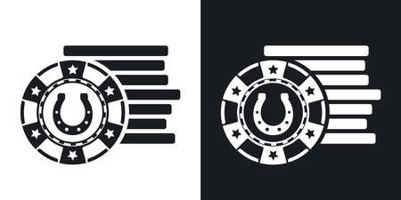 gambling chips: Gambling chips icon, vector. Two-tone version on black and white background Illustration