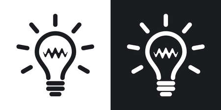bright light: Light bulb icon, vector. Two-tone version on black and white background