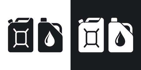 petrolium: Canisters with fuel and oil, vector icon. Two-tone version on black and white background