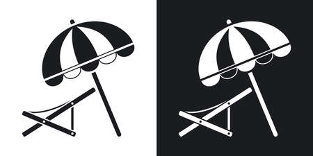 deck chair: Vector beach umbrella and deck chair icon. Two-tone version on black and white background Illustration