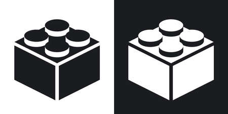 building block: Vector building block icon. Two-tone version on black and white background