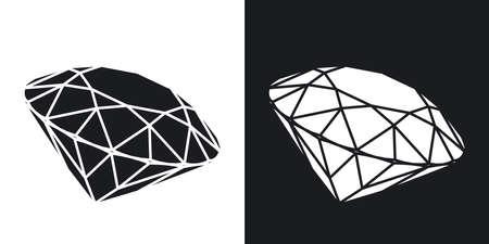 diamante negro: Vector icono de diamante. versión de dos tonos con el fondo blanco y negro Vectores