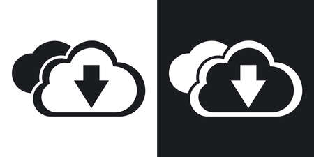 vector download: Vector download from cloud icon. Two-tone version on black and white background