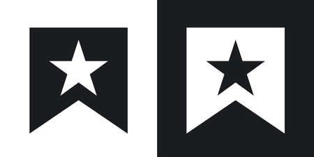 bannerette: Vector flag with star icon. Two-tone version on black and white background