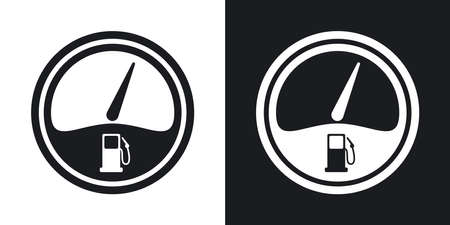 fuel gauge: Vector fuel gauge icon. Two-tone version on black and white background Illustration