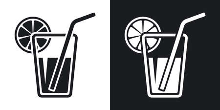 soda pop: Vector glass of juice icon. Two-tone version on black and white background