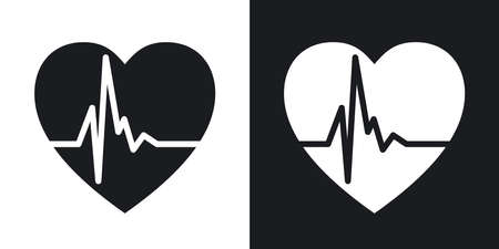 rhythm: Vector heart cardiogram icon. Two-tone version on black and white background