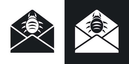 adware: Vector infected email icon. Two-tone version on black and white background