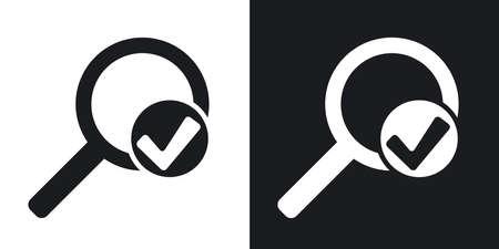 Vector lupa la muestra con el icono de marca de verificación. versión de dos tonos con el fondo blanco y negro
