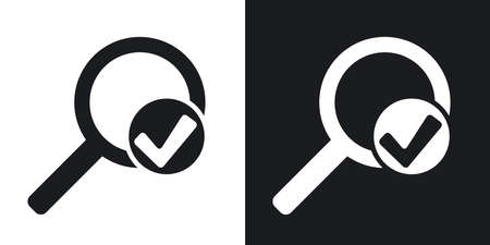 Vector magnifier sign with check mark icon. Two-tone version on black and white background