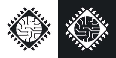 sumbol: Microchip icon, vector. Two-tone version on black and white background