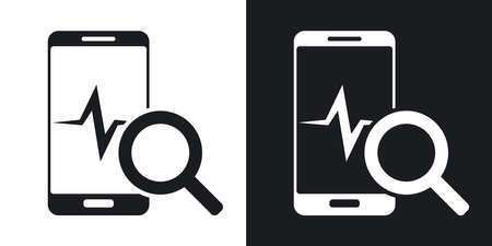 pulsation: Smartphone diagnostics icon, vector. Two-tone version on black and white background Illustration