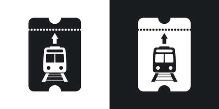 train ticket: Train ticket icon, vector. Two-tone version on black and white background