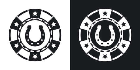 horseshoe vintage: Vector casino chip icon. Two-tone version on black and white background