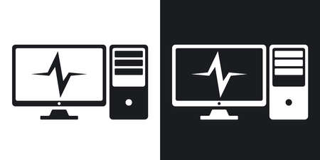 pulsation: Vector computer diagnostics icon. Two-tone version on black and white background Illustration