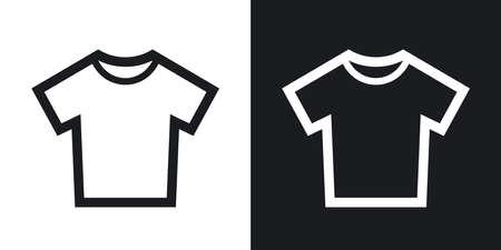 CAMISAS: Vector icono de la camiseta. versión de dos tonos con el fondo blanco y negro Vectores