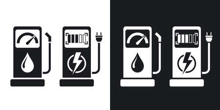 zero emission: Gas station and charging station for electric car, vector icon. Two-tone version on black and white background Illustration