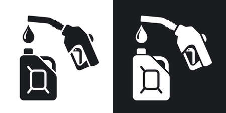 petrolium: Gun for fuel pump and canister of fuel, stock vector. Two-tone version on black and white background