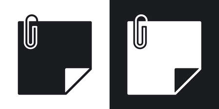 note paper background: Vector note paper with paper clip icon. Two-tone version on black and white background